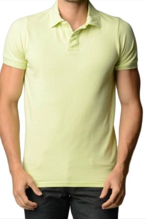 Men's Cotton Slim Fit Lime Polo Shirt