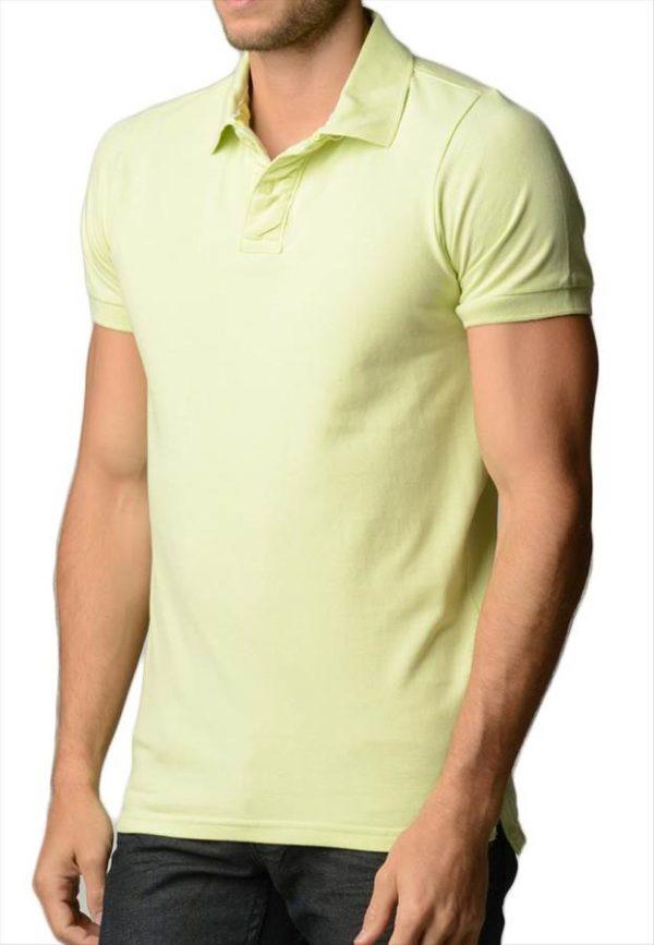 Men's Cotton Slim Fit Lime Polo Shirt