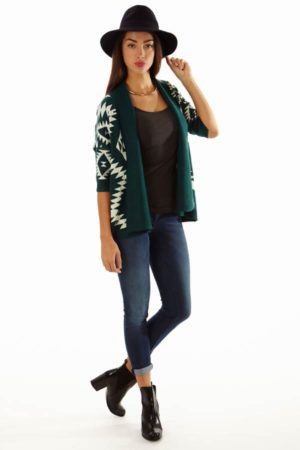 Women's Aztec Tribal Print Open Front Green Cardigan