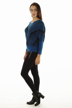 Dolman Sleeve Ocean Blue Chevron Pullover Sweater