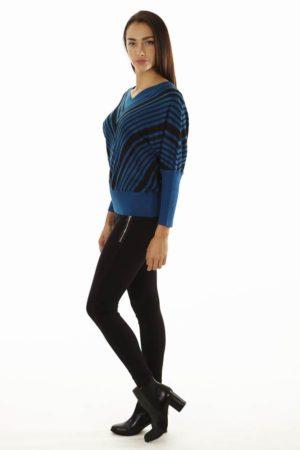 Dolman Sleeve Ocean Blue Chevron Pullover Sweater