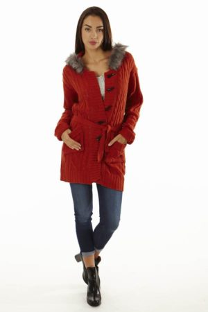 Faux Fur Trim Chunky Knit Oversized Cardigan