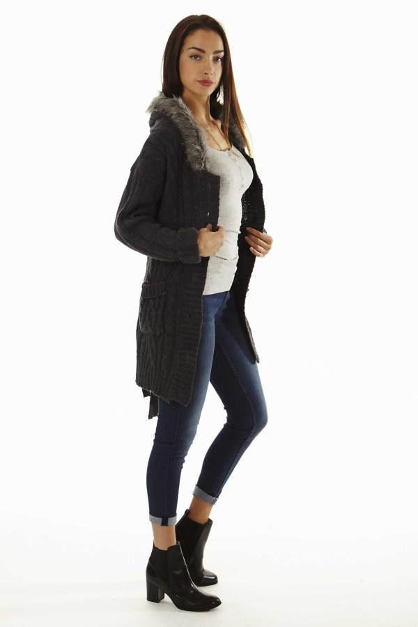 Faux Fur Trim Chunky Knit Grey Oversized Cardigan