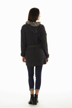 Faux Fur Trim Chunky Knit Grey Oversized Cardigan