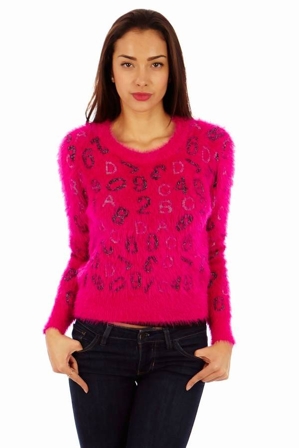 ABC's and 123's Thick Fuzzy Pink Sweater