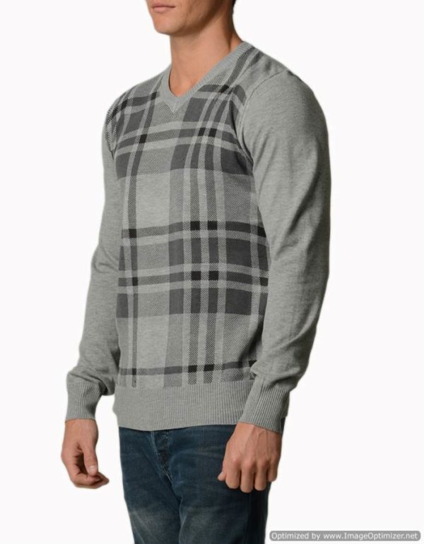 Plaid Light Grey Melange V Neck Sweater