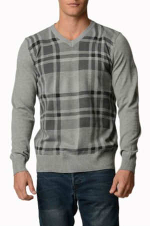 Plaid Light Grey Melange V Neck Sweater