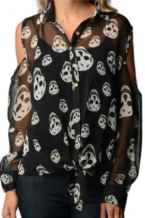 Smiling Skull Print Chiffon Shirt