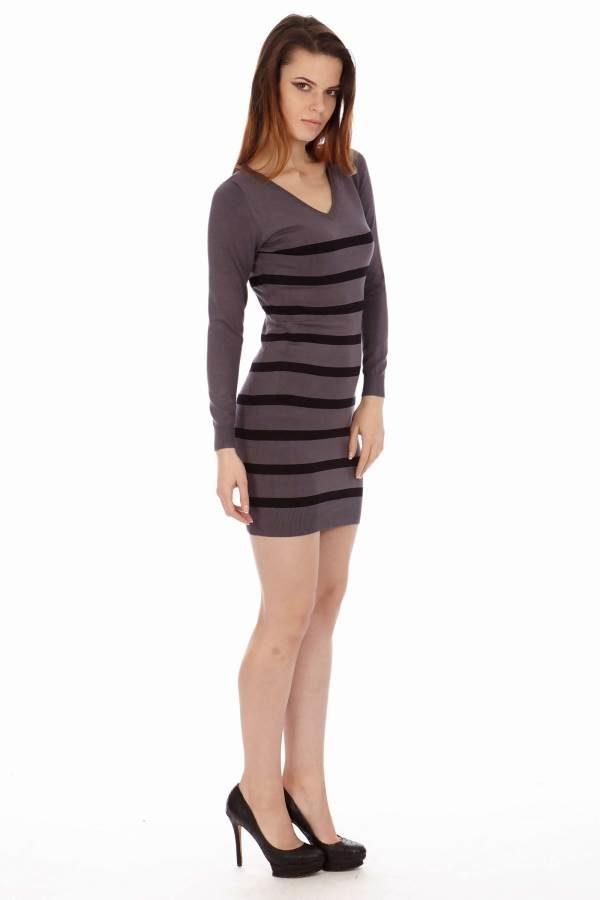 Striped Black V Neck Sweater Dress