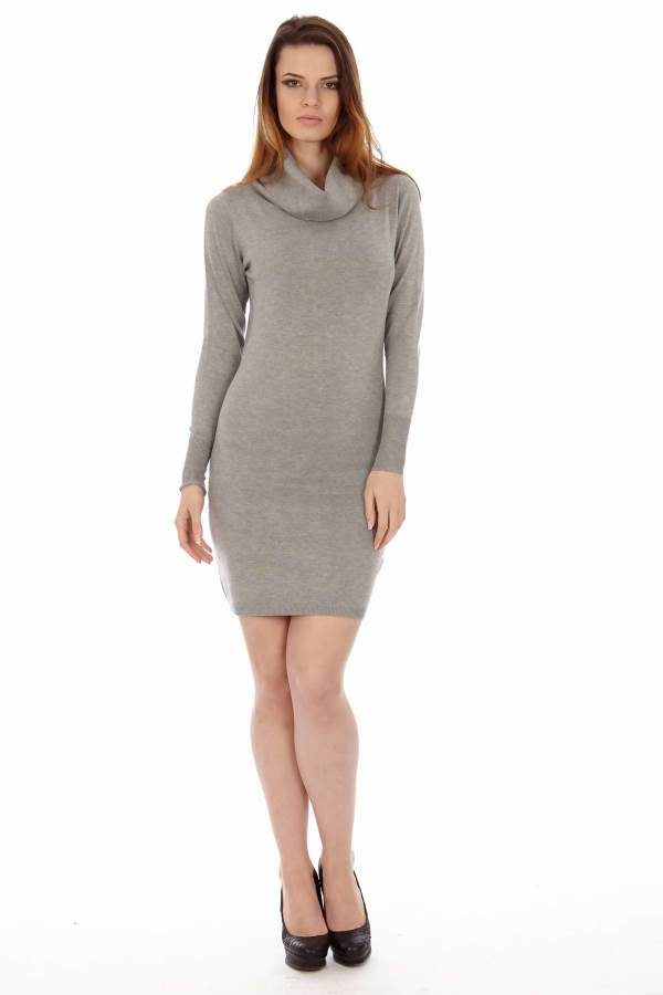 Cowl Neck Grey Sweater Dress