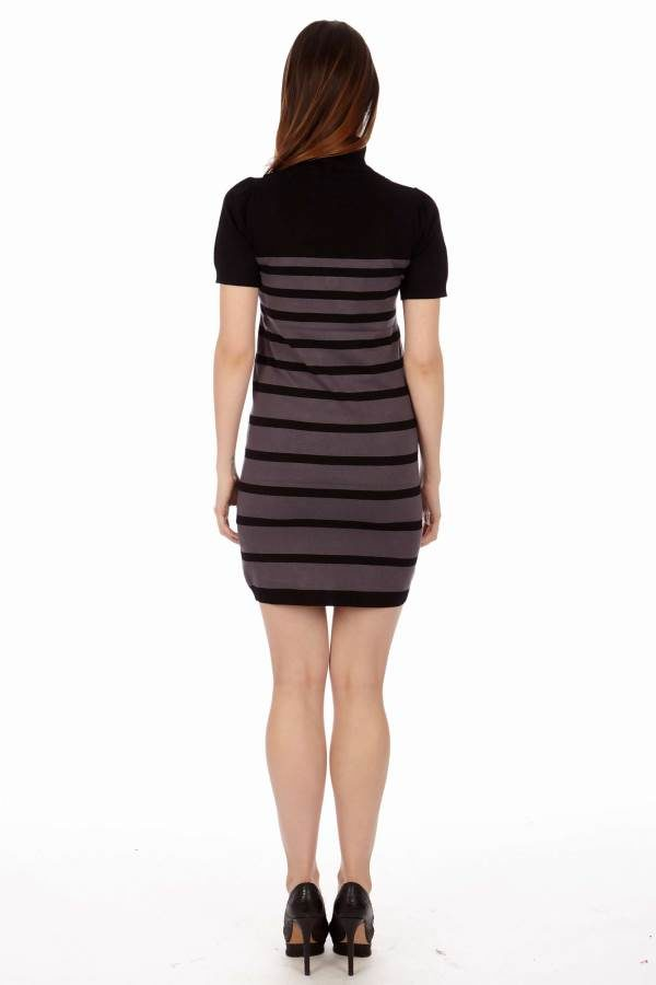 Women's Striped Turtleneck Tunic Sweater