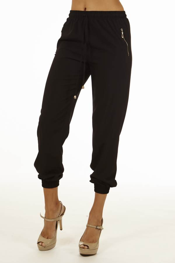 Black Smocked Waist Jogger Pants