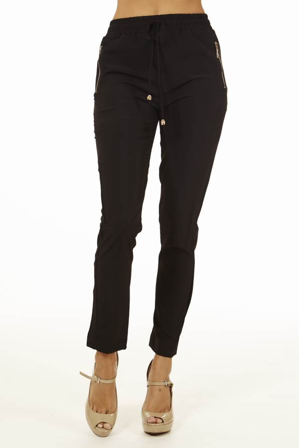 Women's Black Smocked-Waist Pants