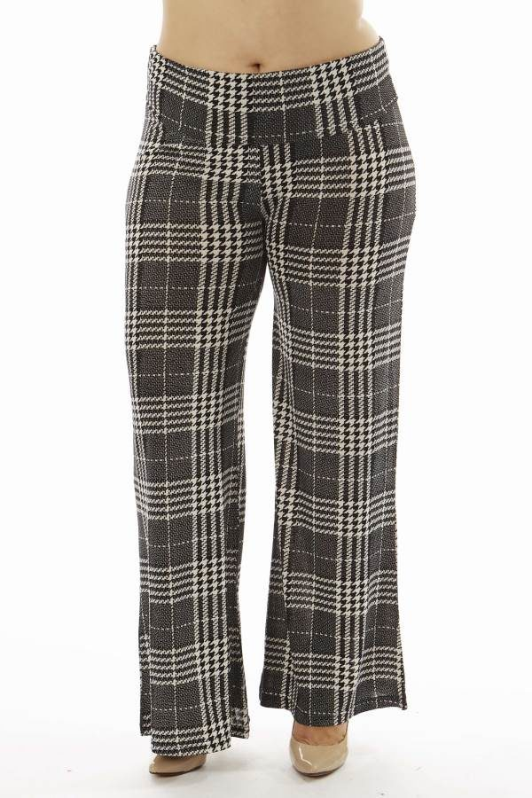 High-Waisted Plaid Plus Size Palazzo Flare Pants