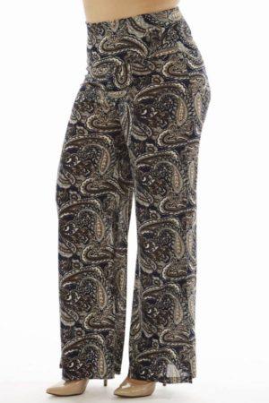 High Waisted Paisley Plus Size Wide Leg Pants