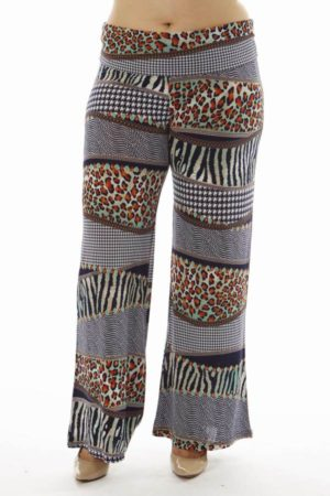 Plus Size Animal Print Patch Flare Leg Palazzo Pants