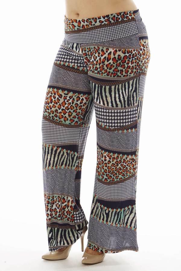Plus Size Animal Print Patch Flare Leg Palazzo Pants
