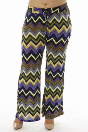 Vibrant Chevron Print Plus Size Bell Bottom Pants