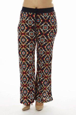 Festival Tribal Print Plus Size Bell Bottom Pants