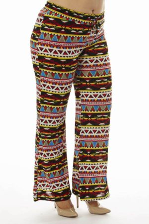 Aztec Inspired Tribal Plus Size Wide Leg Palazzo Pants