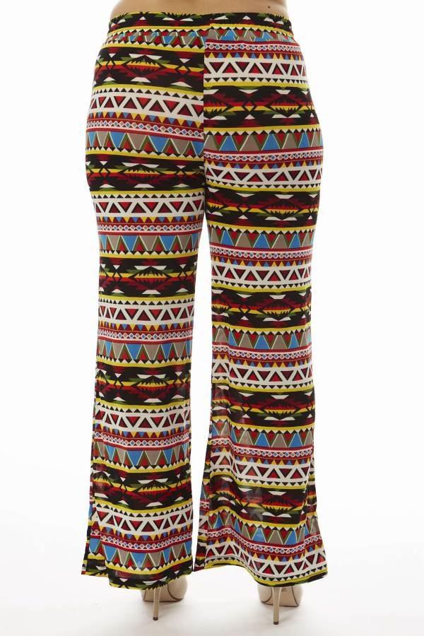 Aztec Inspired Tribal Plus Size Wide Leg Palazzo Pants