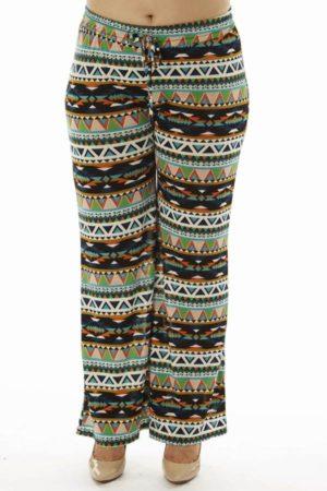 Vibrant Tribal Plus Size Flare Leg Palazzo Pants