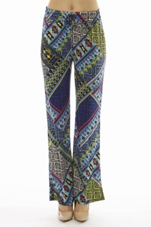 ZigZag Tribal Plus Size Flare Leg Palazzo Pants