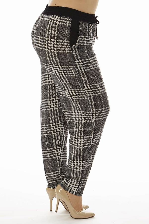 Grey Plaid Print Plus Size Soft Pants
