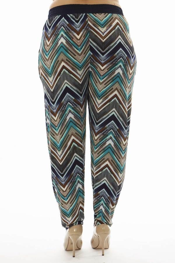 Plus Size Teal Chevron Print Soft Pants