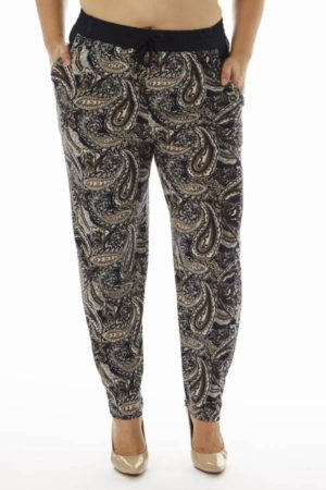 Plus Size Paisley Print Soft Pants