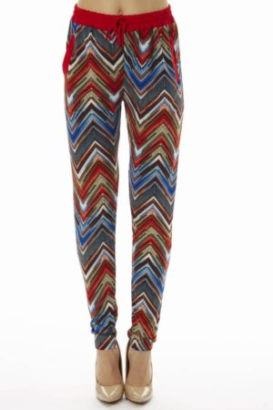 Vibrant Chevron Print Soft Pants