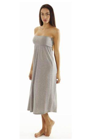 Fitted Waist Grey Maxi Dress