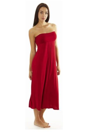 Fitted Waist Red Maxi Dress