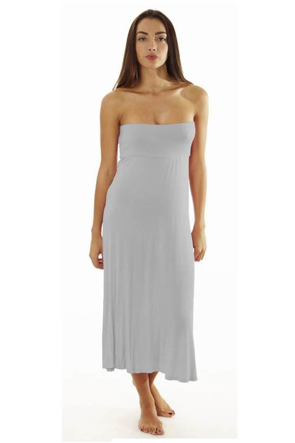 Fitted Waist Silver Maxi Dress