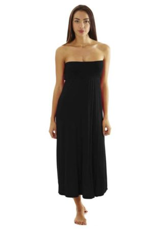 Fitted Waist Black Maxi Dress