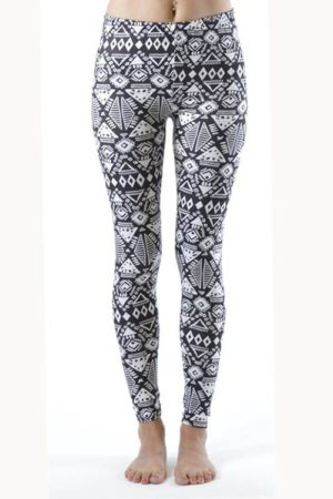 Plus Size Funky White Tribal Ankle Leggings