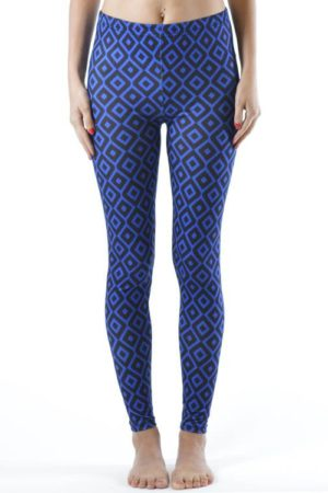 Plus Size Royal Blue Diamond Footless Leggings