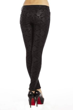 Slim Fit Victorian Print Black Jeggings