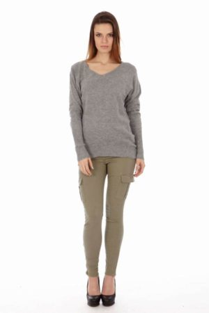 Grey V-Neck Sweater Shir