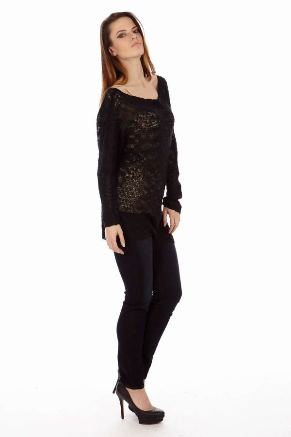 Black Knit Long Sleeve Top