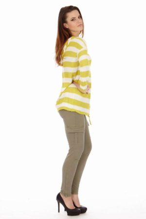 Yellow & White Stripe Hoodie Cardigan