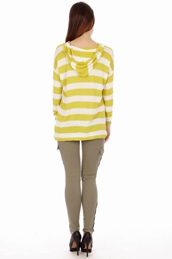 Yellow & White Stripe Hoodie Cardigan
