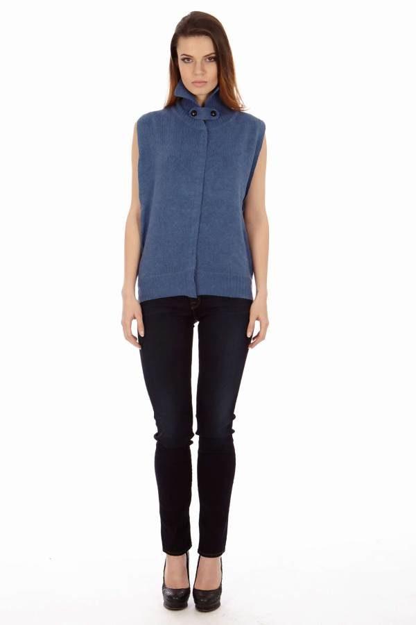 Midnight Navy Collar-Neck Vest