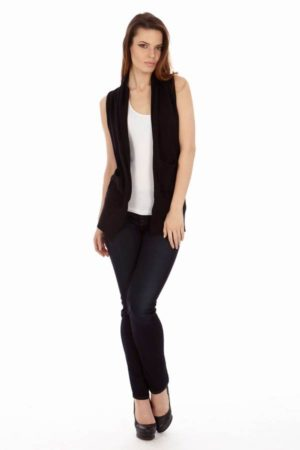 Black Sleeveless Flyway Pocket Cardigan