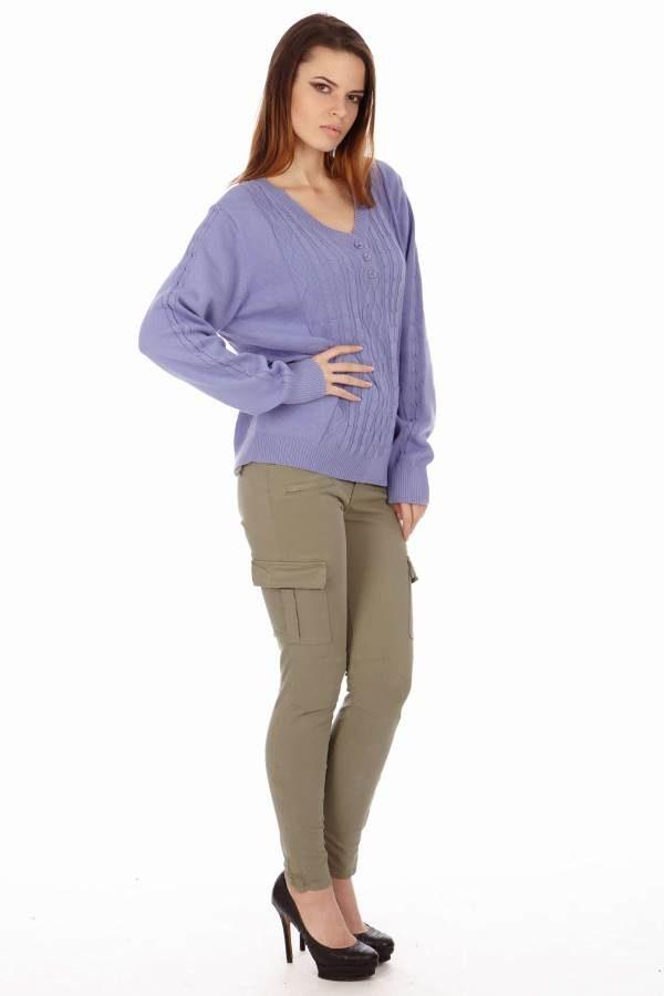 Vintage Knit Lilac V-Neck Sweatshirt