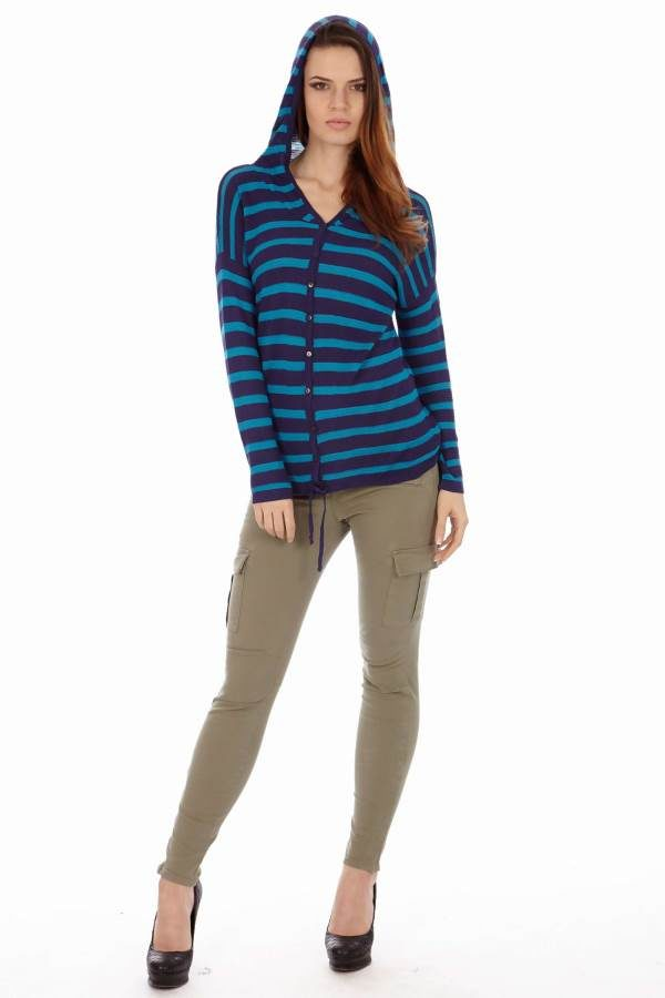 Black & Royal Stripe Hoodie Cardigan