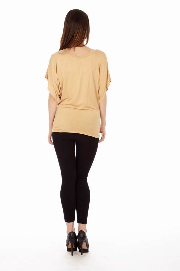 Tan Flowing Angel Blouse