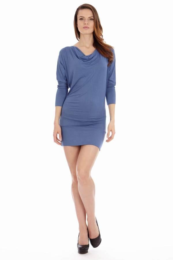 Blue Cowl Neck Dress