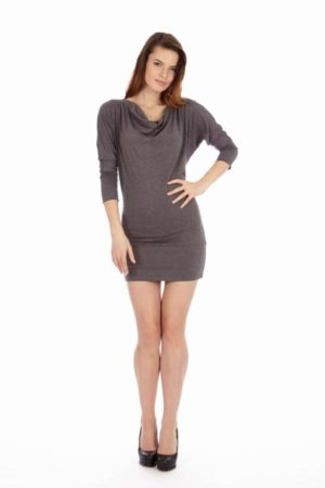 Dark Grey Cowl Neck Dress