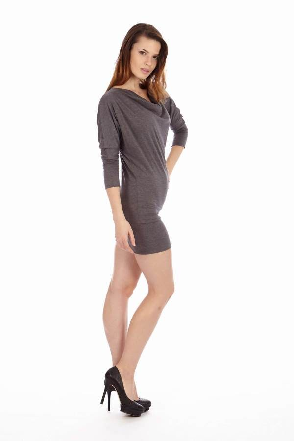 Dark Grey Cowl Neck Dress